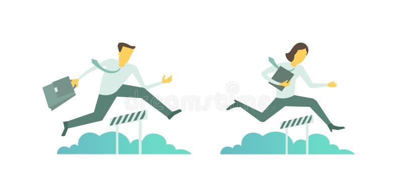 Kvinnan för affärshinderlöpningmannen hoppar övervinna de körande hindren för barriären royaltyfri illustrationer