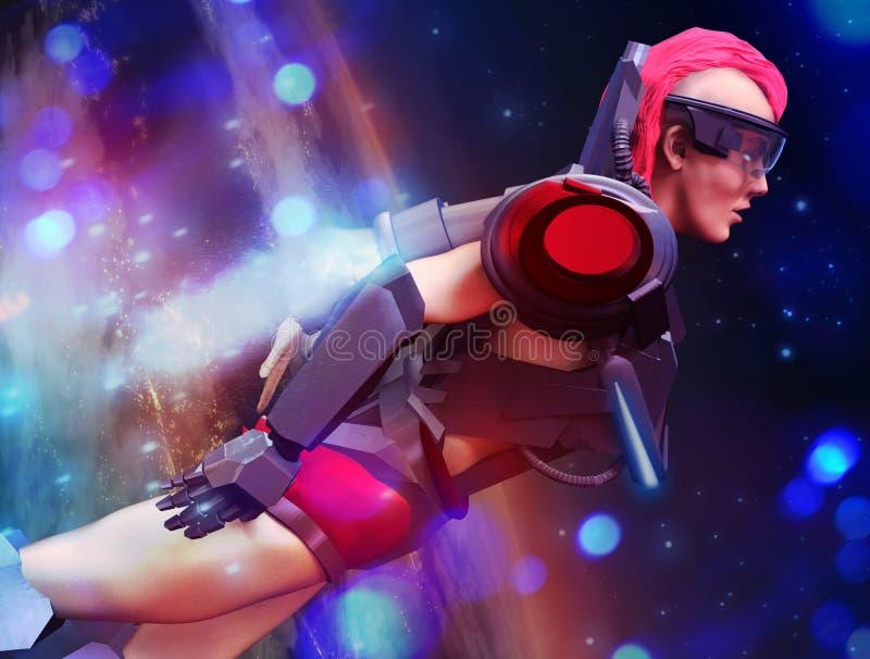 Kvinnan för den Futurisctic science fictionsuperheroen i dräktflygprofil tävlar stock illustrationer