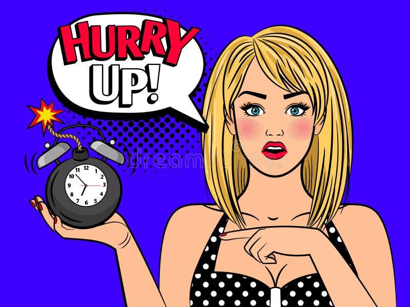 Kvinnan för popkonst med alarmclocken bombarderar stock illustrationer