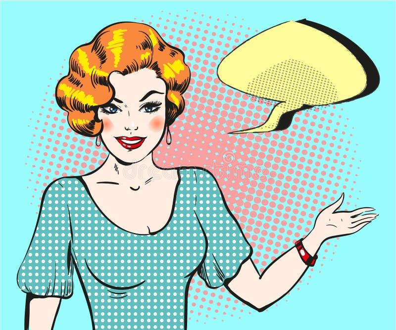 Kvinnan för popkonst med anförandebubblan, klämmer fast upp retro stilkvinna royaltyfri illustrationer