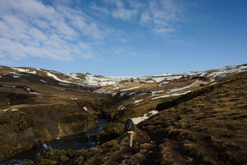 Kvinnan fotvandrar i icelandic landskap fotografering för bildbyråer