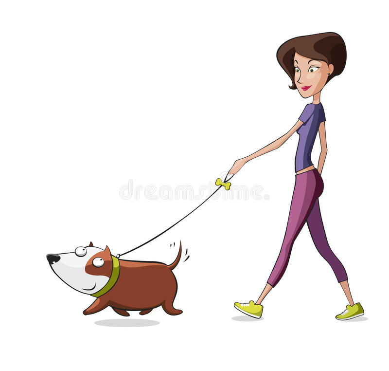 Kvinnan går hunden - hundbarnvakt royaltyfri illustrationer