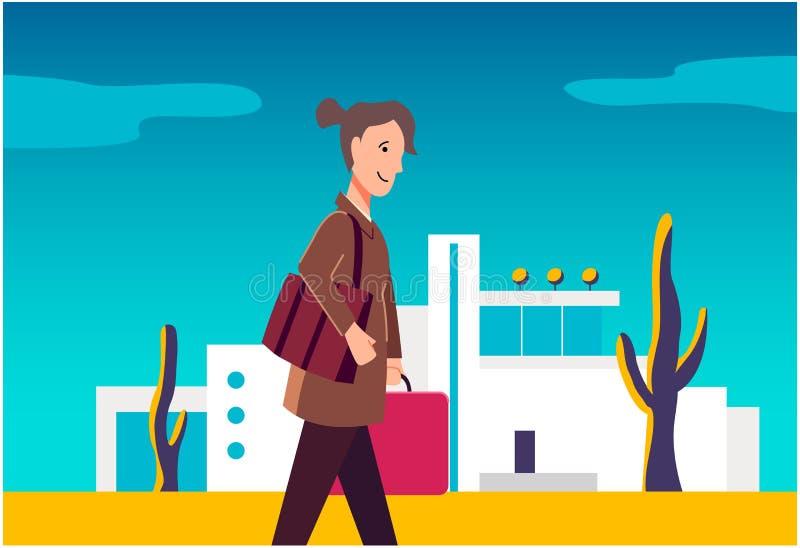 Kvinnan går med bagage Konstillustration stock illustrationer
