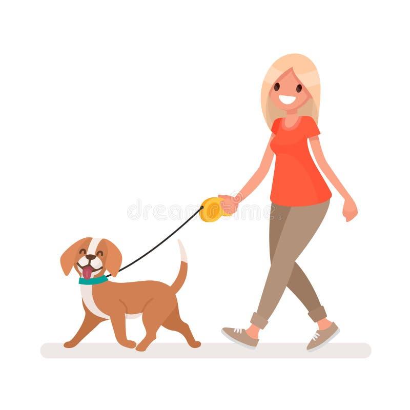 Kvinnan går med en hund också vektor för coreldrawillustration royaltyfri illustrationer