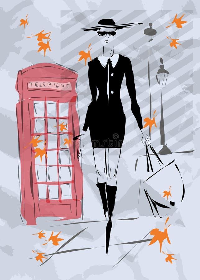 Kvinnan går ner gatan vektor illustrationer