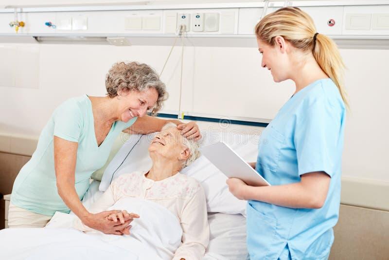 Kvinnan gör sjukt besök till en pensionär royaltyfria bilder