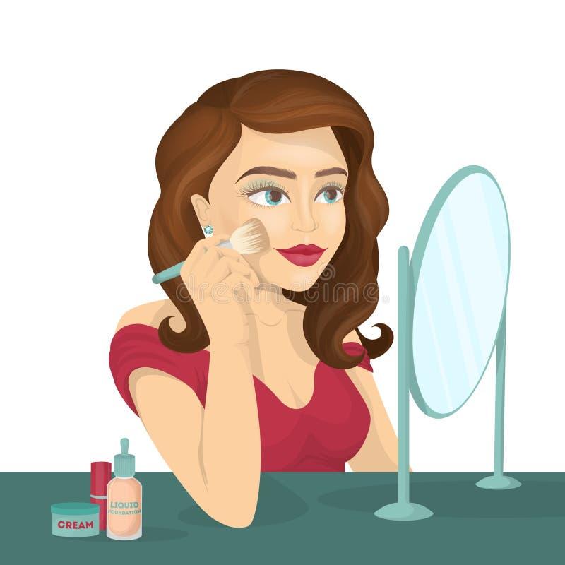 Kvinnan gör smink stock illustrationer