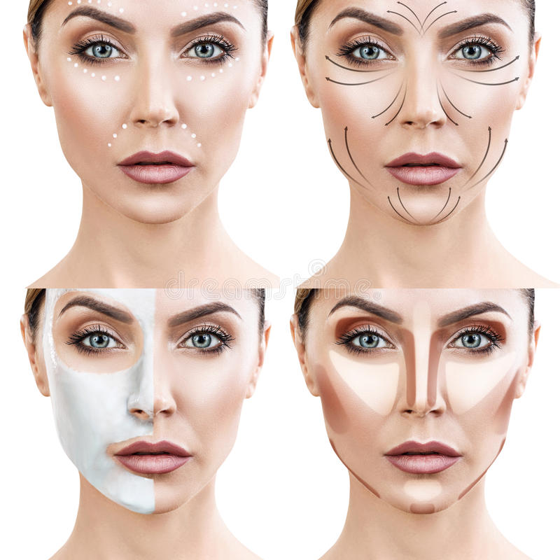 Kvinnan gör stegvis tillvägagångssätt för hudomsorg arkivbilder