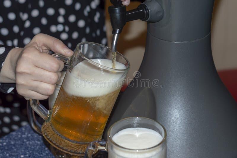 Kvinnan häller nytt kallt öl från en tabletop kyla utmatare in i ölexponeringsglas royaltyfri bild
