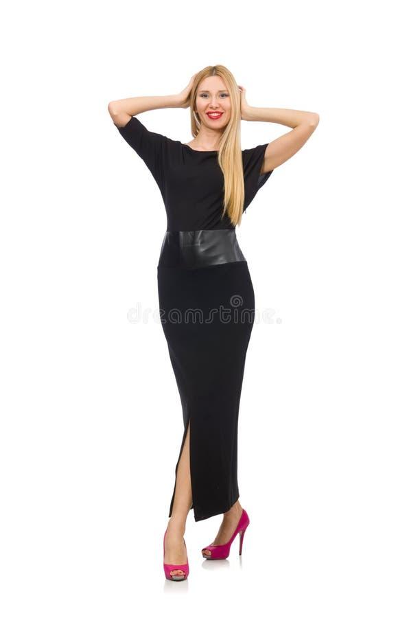 Kvinnan i den svarta aftonklänningen som isoleras på vit royaltyfria foton