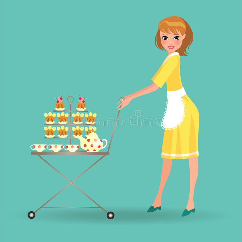 Kvinnan i det vita förklädet tjänar som kakor på spårvagnen, flickauppassare med efterrättmagasinet och servicetekokkärlet, koppa vektor illustrationer