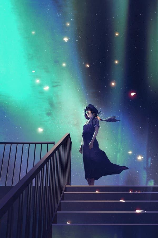 Kvinnan i ett mörker - blått klänninganseende på trappa royaltyfri illustrationer