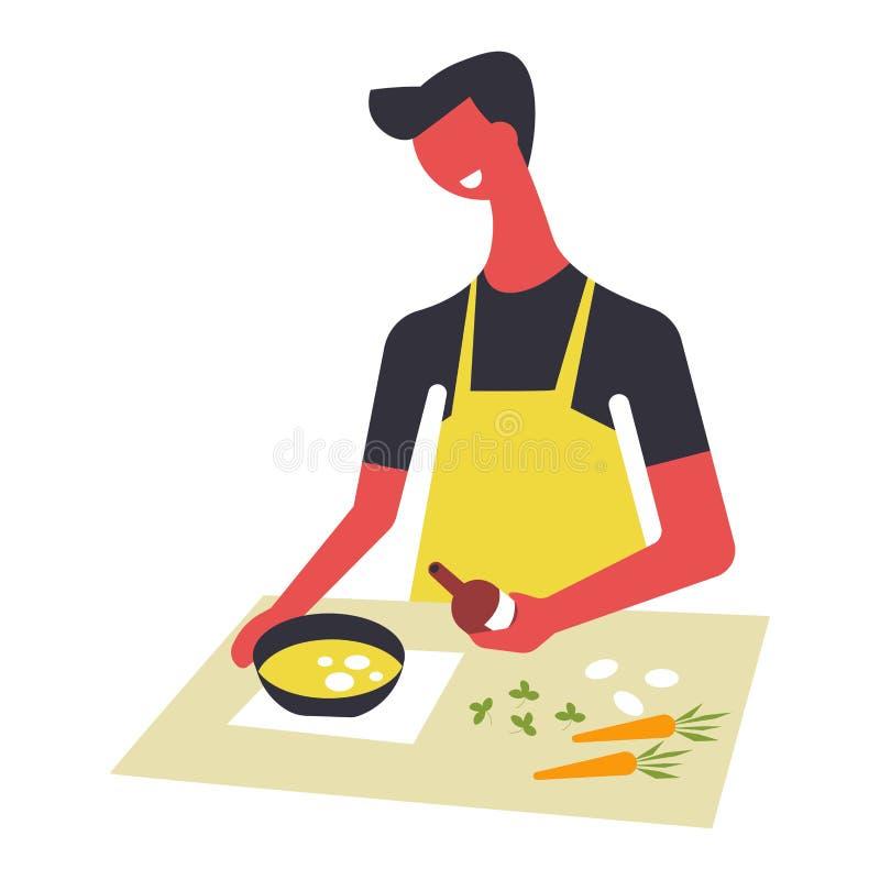 Kvinnan i förkläde lagar mat mat och tjänar som i bunkar Det kvinnliga teckenet förbereder disk på tabellen stock illustrationer