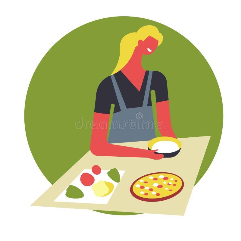 Kvinnan i förkläde lagar mat mat och tjänar som i bunkar Det kvinnliga teckenet förbereder disk på tabellen vektor illustrationer