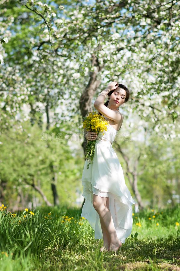 Kvinnan i lång klänning i blomningäpple parkerar Vår arkivbilder