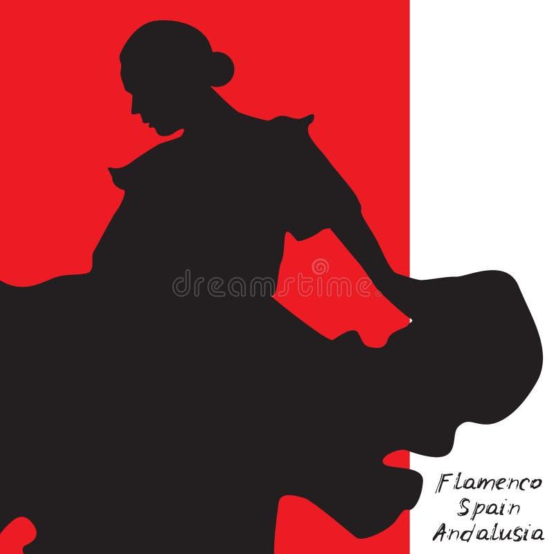 Kvinnan i långt klänningstag i dans poserar flamencodansare, spanjor härlig kvinnlig profilsvartkontur på den vita röda backgroen stock illustrationer
