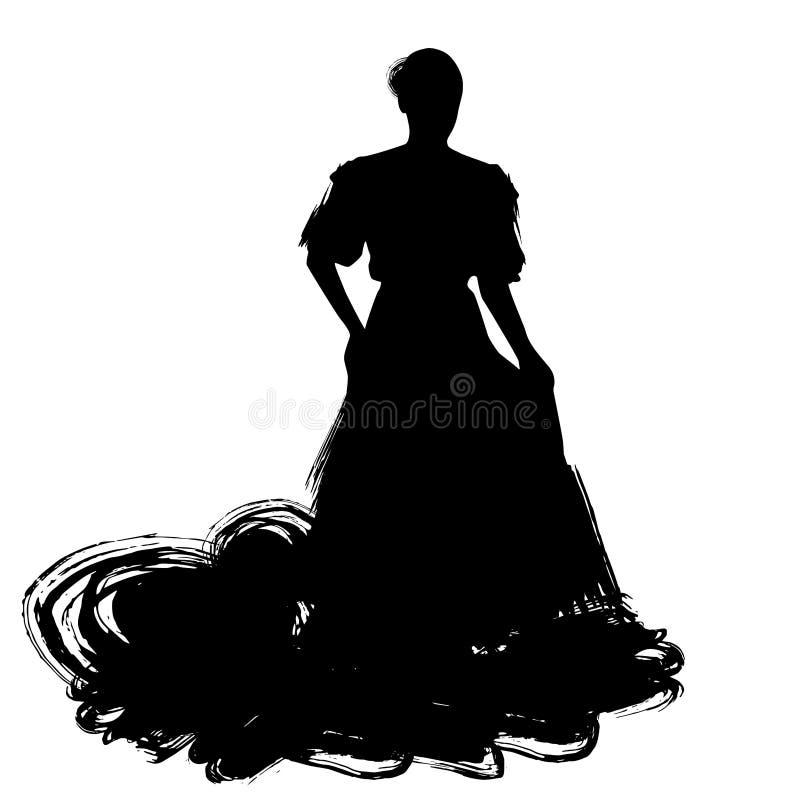 Kvinnan i långt klänningstag i dans poserar flamencodansareSpanish regioner av Andalusia, Extremadura Murcia svart kontur Isola stock illustrationer