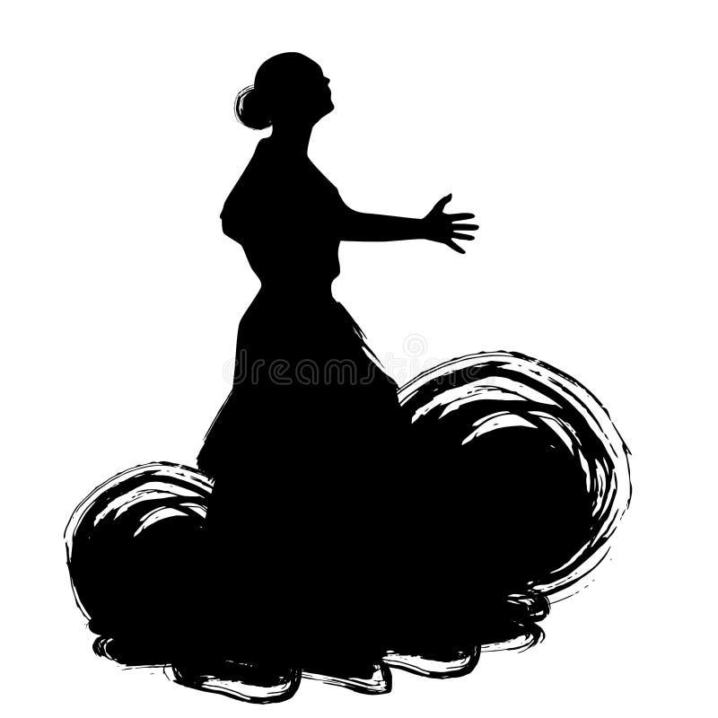 Kvinnan i långt klänningstag i dans poserar flamencodansareSpanish regioner av Andalusia, Extremadura Murcia svart kontur Isola vektor illustrationer