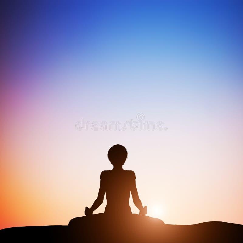 Kvinnan i lotusblommayoga poserar att meditera på solnedgången zen vektor illustrationer