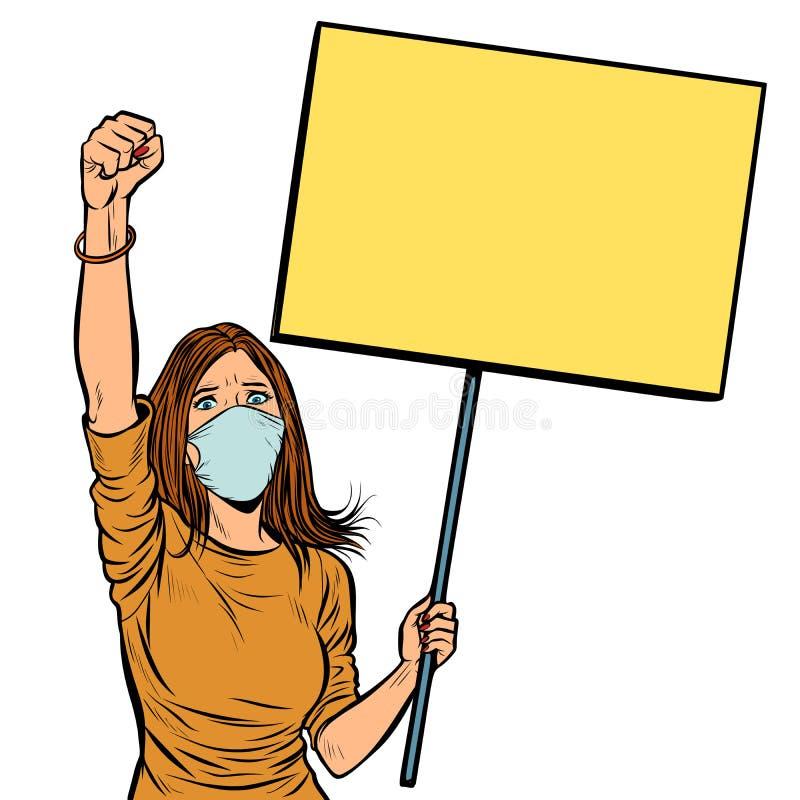 Kvinnan i medicinsk maskering protesterar med en affisch isolat på vit b royaltyfri illustrationer