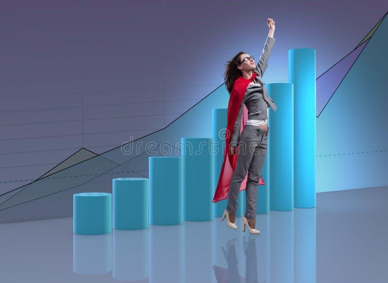 Kvinnan i röd räkning i affärsidé arkivbilder