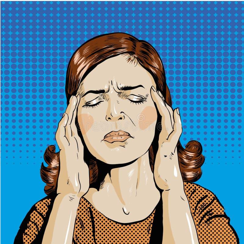 Kvinnan i spänning har huvudvärk Stil för konst för vektorillustrationpop retro komisk stock illustrationer