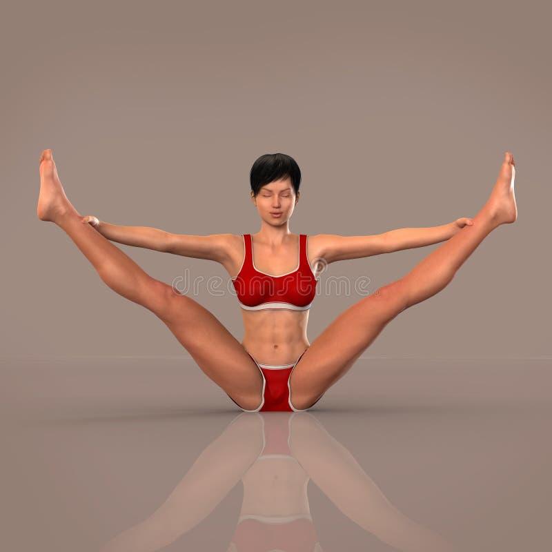 Kvinnan i yoga poserar att meditera royaltyfri illustrationer