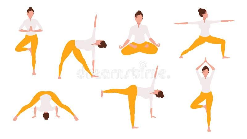 Kvinnan i yoga poserar stock illustrationer
