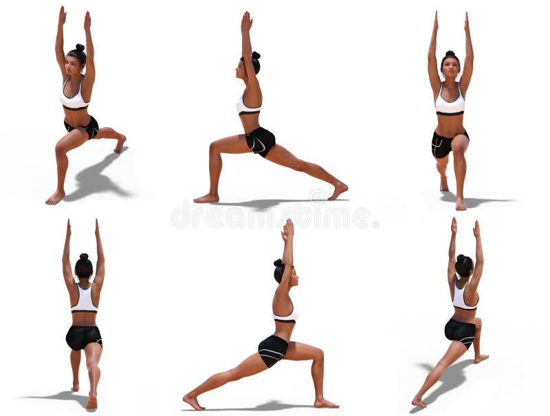 Kvinnan i yogakrigare en poserar med 6 vinklar av sikten stock illustrationer