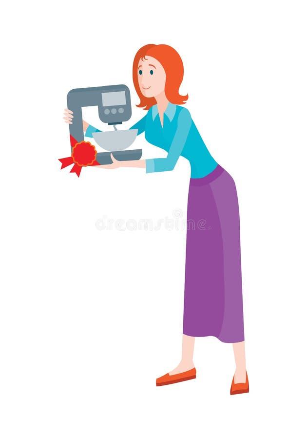 Kvinnan köper blandaren med bunken på Sale på rabatten royaltyfri illustrationer