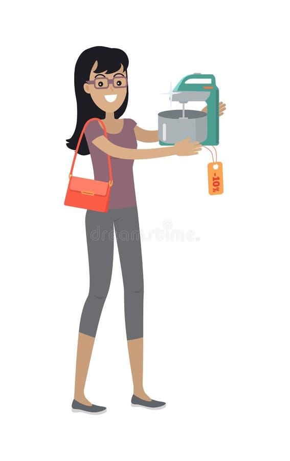 Kvinnan köper blandaren med bunken på Sale Rabattetikett stock illustrationer