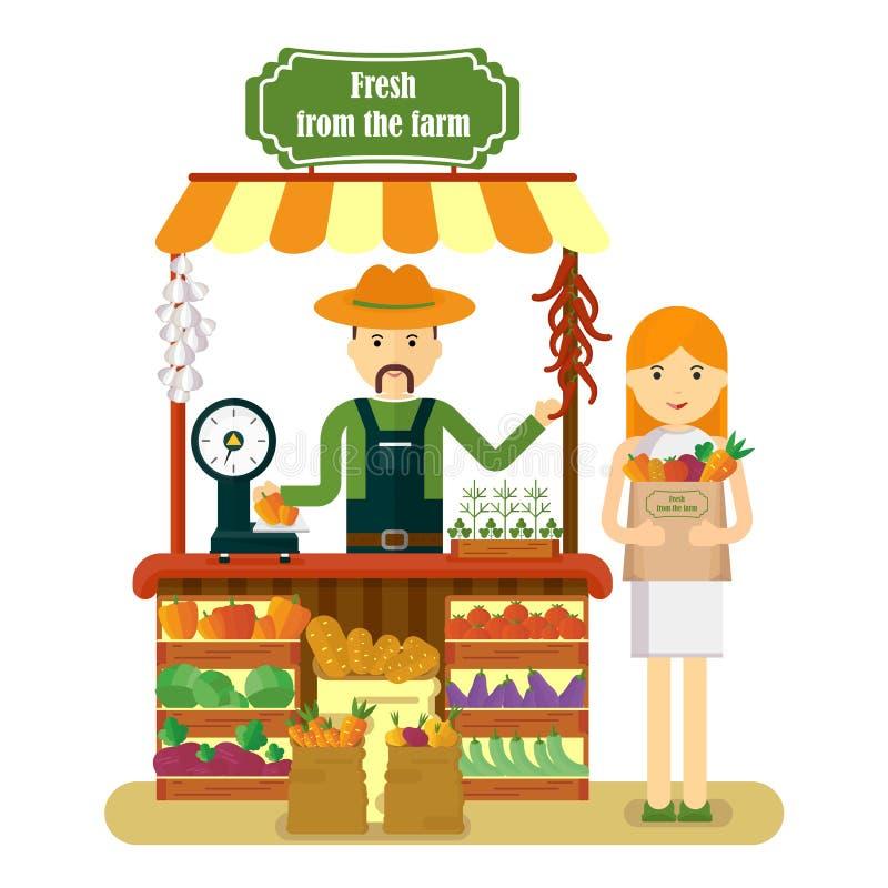 Kvinnan köper nya grönsaker royaltyfri illustrationer