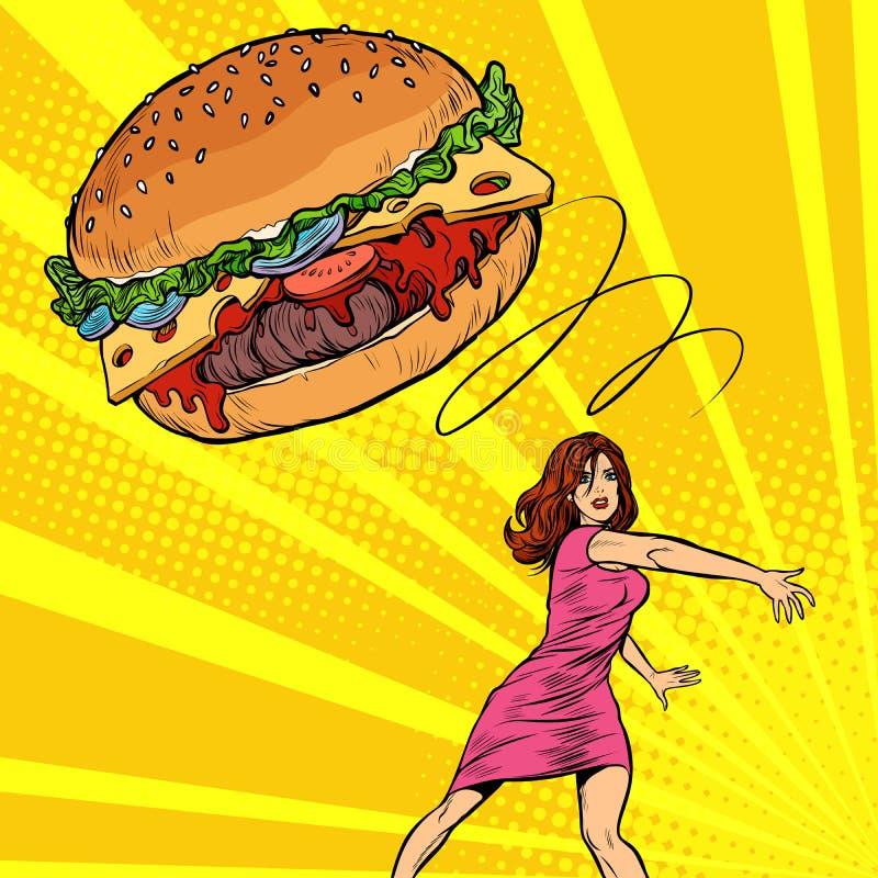 Kvinnan kastar hamburgaren, snabbmat banta att ?ta som ?r sunt vektor illustrationer
