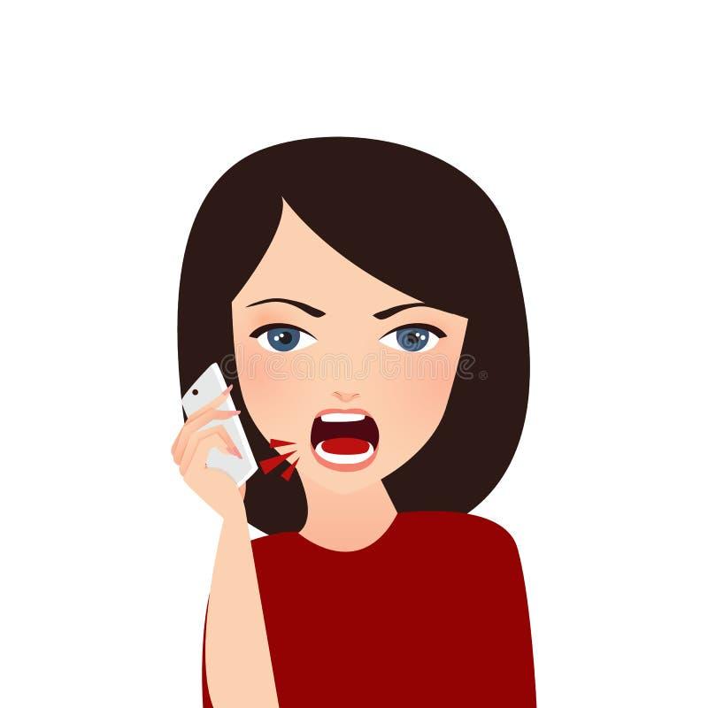 Kvinnan klagar på den ilskna telefonen klagar att ropa för rubbning royaltyfri illustrationer