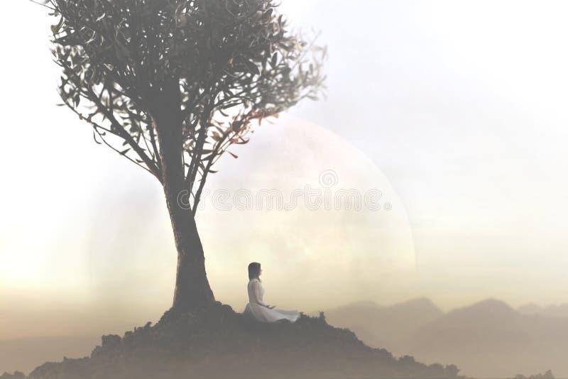 Kvinnan kopplar av att göra yoga under ett träd royaltyfri bild