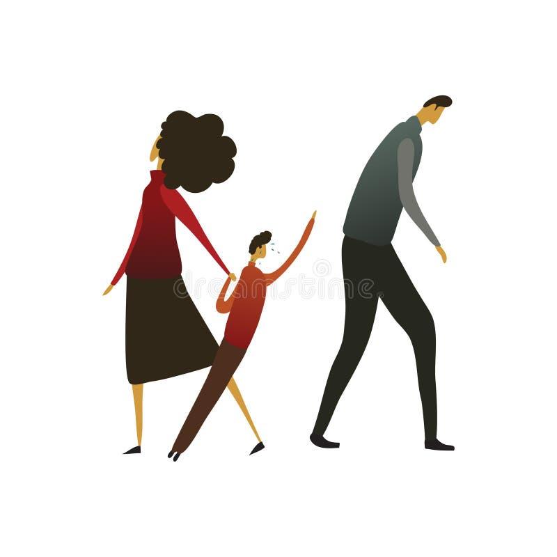 Kvinnan leder ett barn i väg från en ledsen man white f?r vektor f?r bakgrundsillustrationhaj stock illustrationer