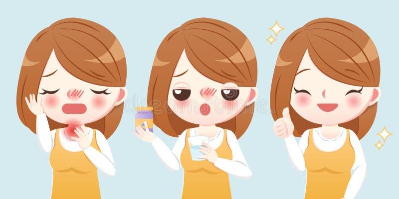 Kvinnan lider en öm hals stock illustrationer