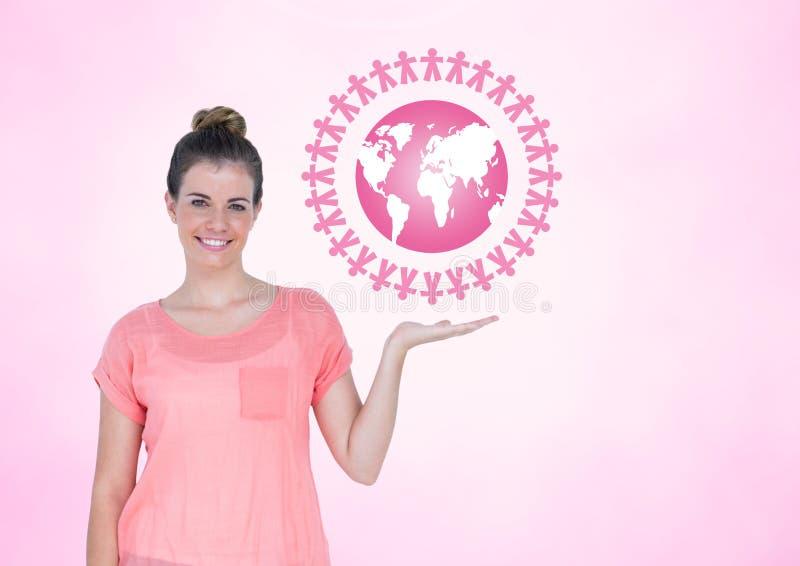Kvinnan med öppet gömma i handflatan handen under symbol för världsfolk tillsammans arkivbilder