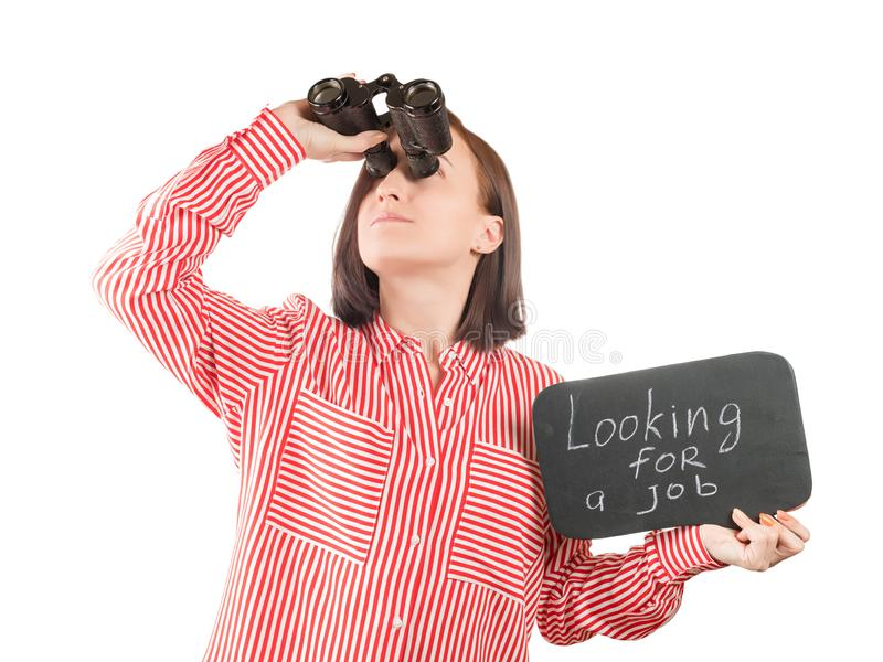Kvinnan med att söka efter en isolerad jobbtext på kritiserar att se till och med det binokulärt royaltyfria foton