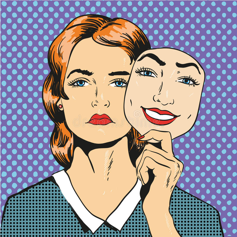 Kvinnan med den ledsna olyckliga framsidainnehavmaskeringen fejkar leende Vektorillustration i komisk retro stil för popkonst royaltyfri illustrationer