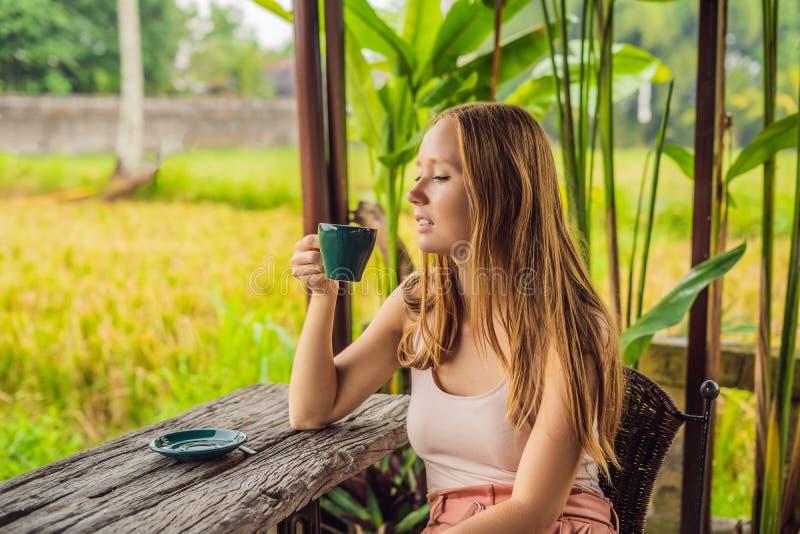 Kvinnan med en kopp kaffe på kaféverandan nära risen terrasserar på Bali, Indonesien arkivbilder