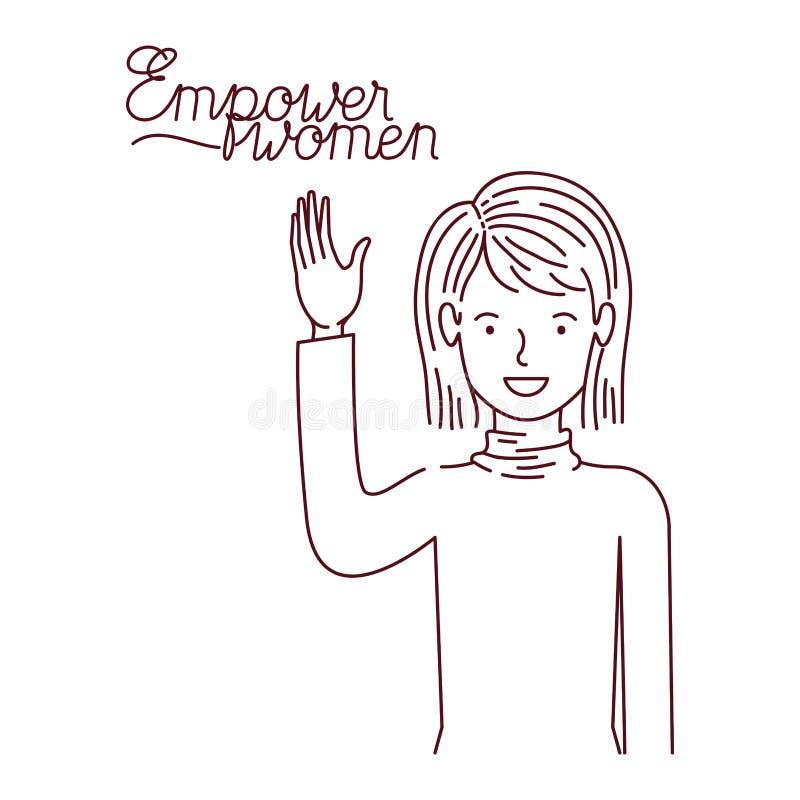 Kvinnan med etiketten bemyndigar kvinnaavatarteckenet vektor illustrationer