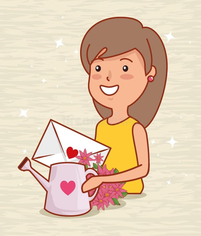 Kvinnan med förälskelsekortet och att bevattna kan till valentindagen royaltyfri illustrationer