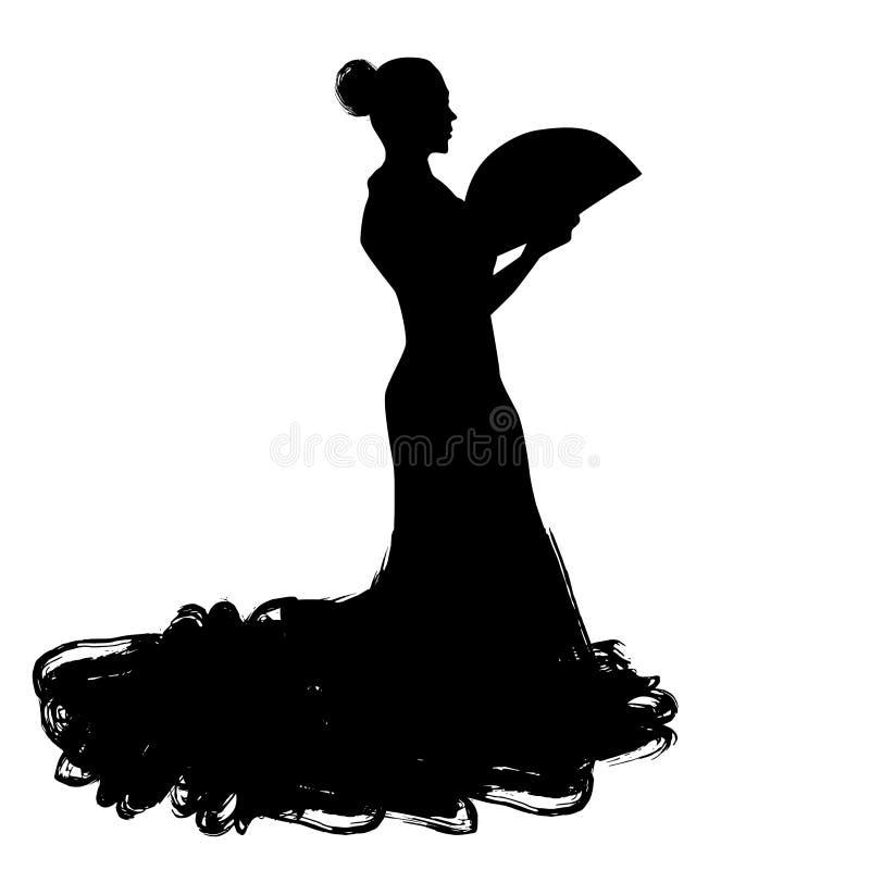 Kvinnan med fanen i långt klänningstag i dans poserar flamencodansareSpanish regioner av Andalusia, Extremadura Murcia svart silh royaltyfri illustrationer