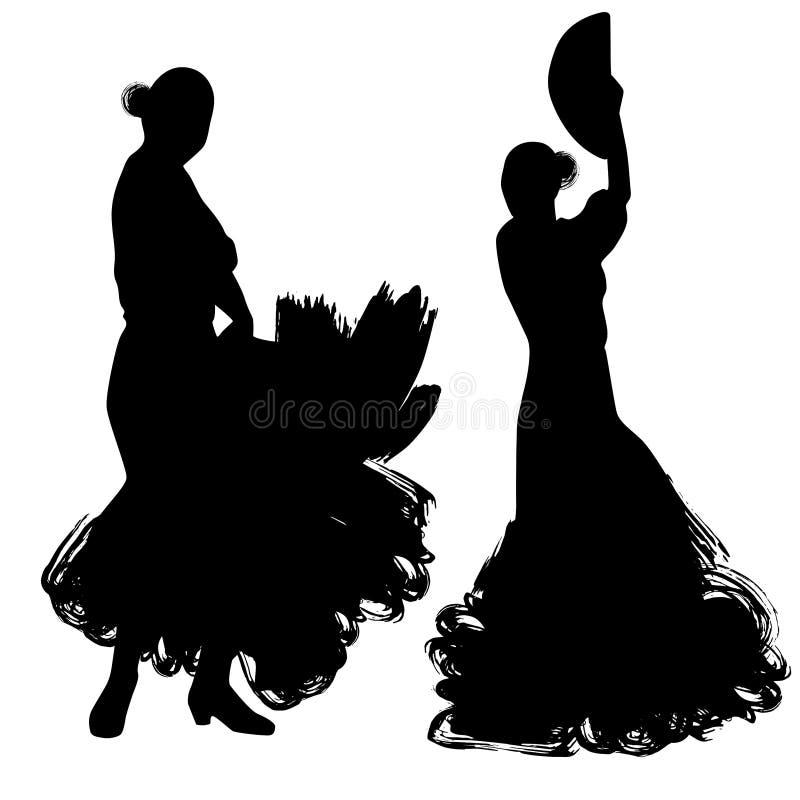Kvinnan med fanen i långt klänningstag i dans poserar flamencodansareSpanish regioner av Andalusia, Extremadura Murcia svart silh stock illustrationer