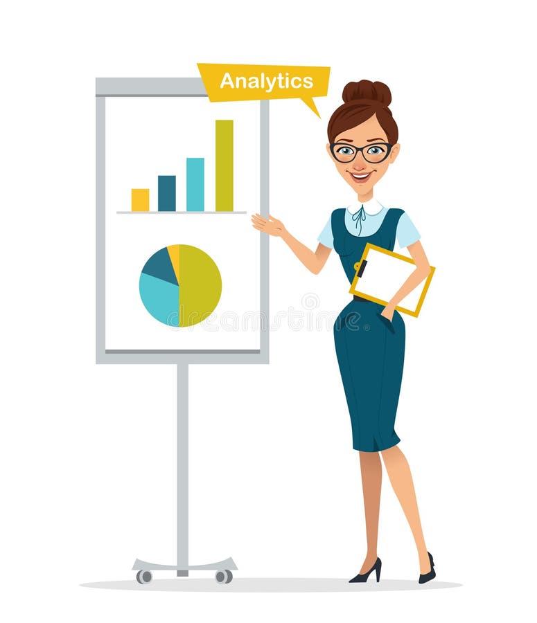 Kvinnan med minnestavlan står near flipchart Kvinnashowdiagram, diagram analyserar stock illustrationer