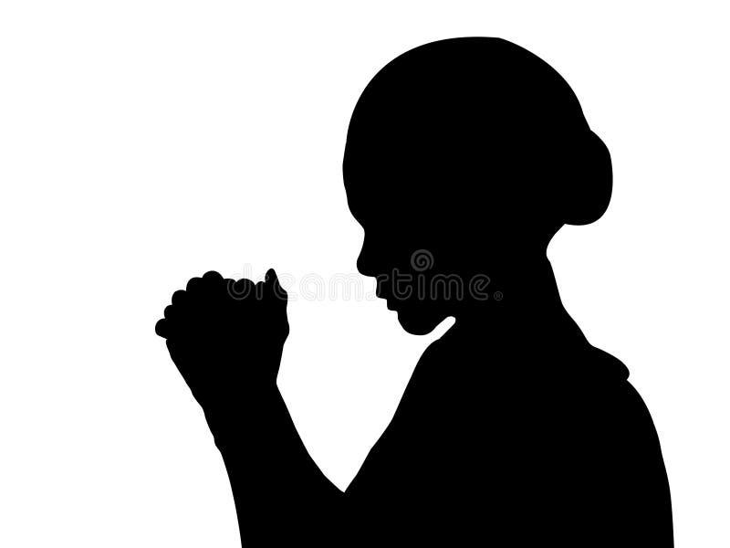 Kvinnan med räcker i bön stock illustrationer