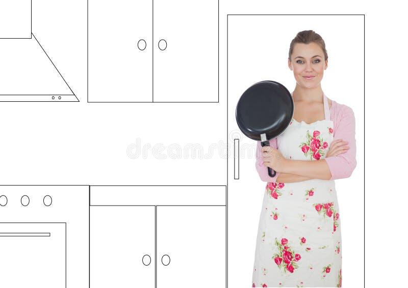 kvinnan med stekpannan och händer vek i illustratör av kök arkivbild