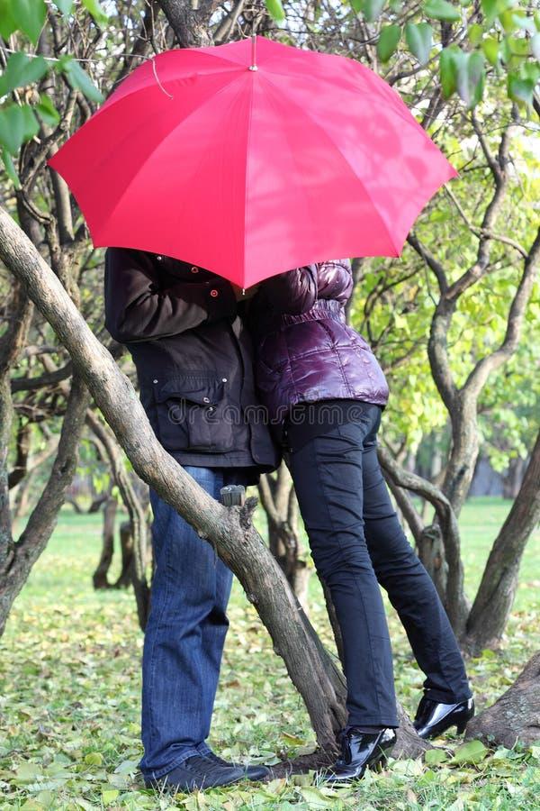 Kvinnan och manen döljer bak det röda paraplyet parkerar in arkivfoton