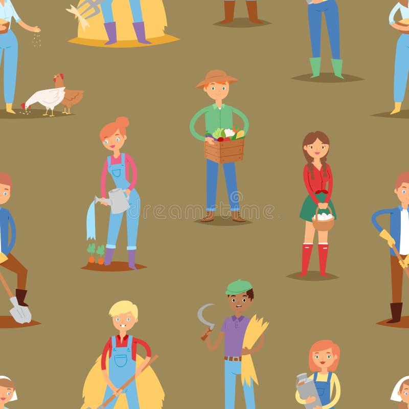 Kvinnan och mannen för illustration för liv för lantbruk för yrke för person för tecken för arbetare för bondevektorfolk arbetar  vektor illustrationer